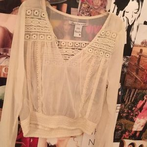 Sheer cream American Rag blouse